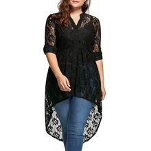Wipalo Women Plus Size Blouse Autumn Peplum Long Sleeve High Low Lace Shirts Tunic Through Button