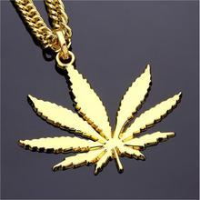 AGOOD Brand Fashion Men Hemp Leaf Pendant Necklace Iced Out HipHop Gold Silver Color Long Statement Rapper Cuban Chains