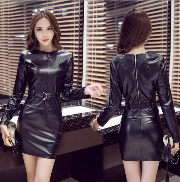 2017 new spring women Long Sleeve PU Leather two pieces suit Bodycon Mini Pencil skirt set  S255
