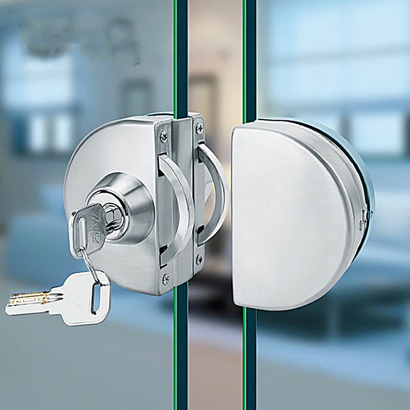 10-12mm Glass Door Lock Stainless Steel Double Bolts Swing Push Sliding Access Control
