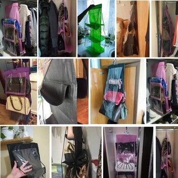 6 poche suspendus sac à main organisateur pour garde-robe placard Transparent sac de rangement porte mur clair divers sac à chaussures avec pochette de suspension 2