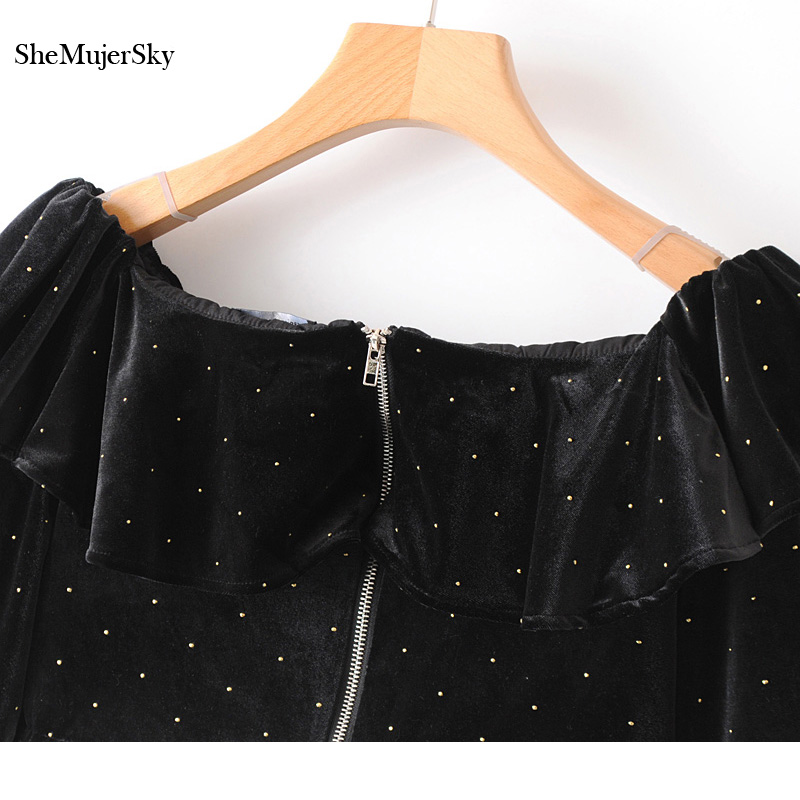 95217261463 SheMujerSky Velvet Crop Top Womens Off Shoulder Tops and Blouses Polka Dot  Long Sleeve Blouse-in Blouses & Shirts from Women's Clothing on  Aliexpress.com ...