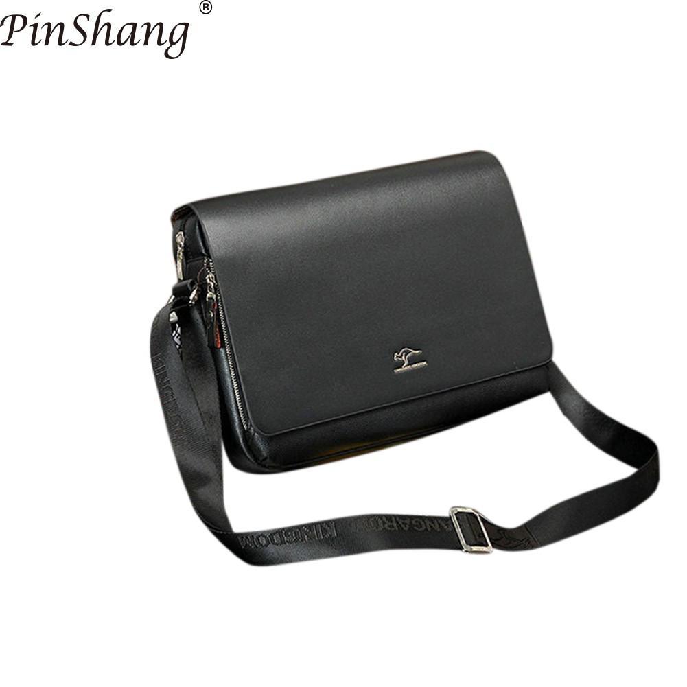 PinShang Men Handbag New Arrived Brand Kangaroo Men's Messenger Bag Vintage Leather Shoulder Bag Handsome Crossbody Bag ZK50
