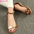 QUTAA 2017 Fashion Genuine Leather Women's Sandals Shoes Summer Flats Sandals Peep Toe Flower Wedding Shoes Size 34-39