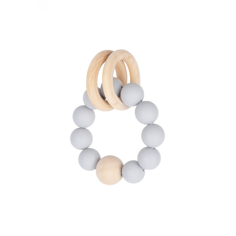 1Pcs teether Teething Natural Wood Ring Silicone Beads Hand Weave Bracelet Organic Infant