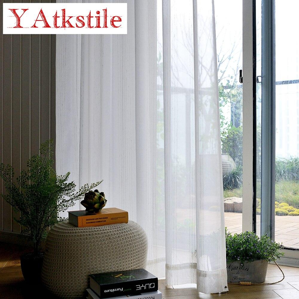 YAtkstile modern white striped tulle gauze curtain for bedroom ...
