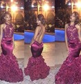Sexy Burgundy Rose Floral Long Prom Dresses 2016 Lace Applique Handmade Flowers Mermaid Vestidos De Formatura