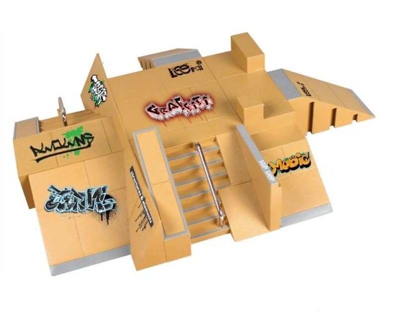 11 piezas de Kit de patín de parque de patines piezas de rampa para cubierta de tecnología de dedo Mini monopatín