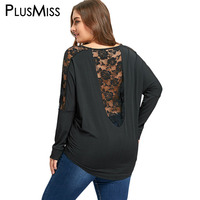 PlusMiss Plus Size 5XL Sexy Open Back Lace Crochet Insert Sheer Blouse Shirt Women Clothing Backless