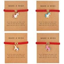 Счастливый красный нитка браслеты с изображением лошади розовый синий белый лошадь очарование для женщин ручной работы девушки Дружба Ювелирные изделия подарок с картой