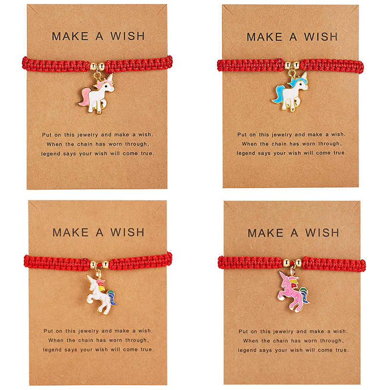 Lucky Red String Thread Horse Bracelets Pink Blue White Horse Charm Women Handmade Girls Friendship Jewelry Gift with Card