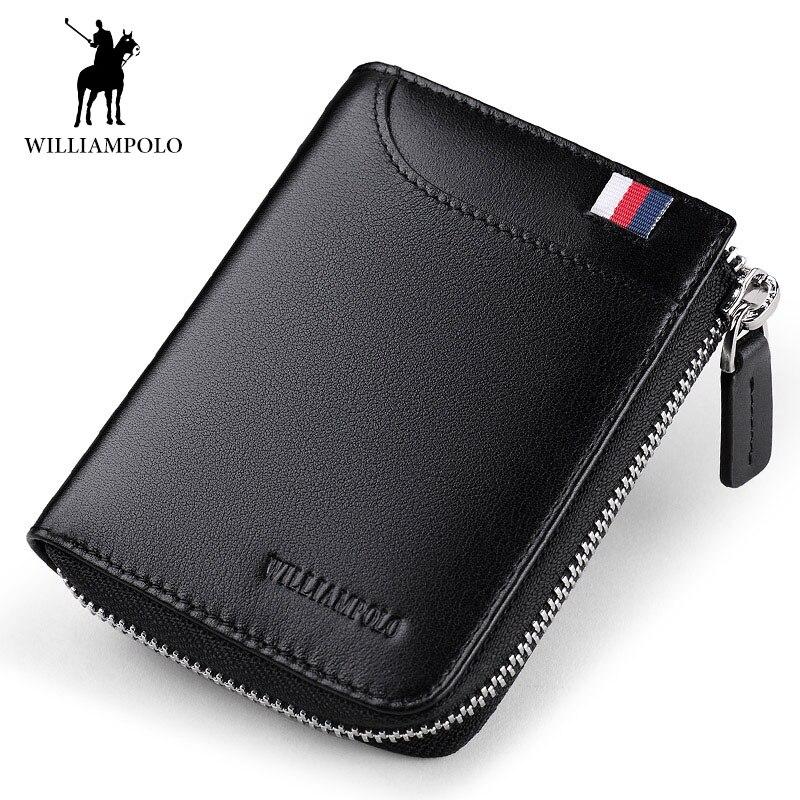 WILLIAMPOLO en cuir véritable marque hommes court portefeuille porte-carte homme sac à main avec Placement conducteur Licens porte-clé