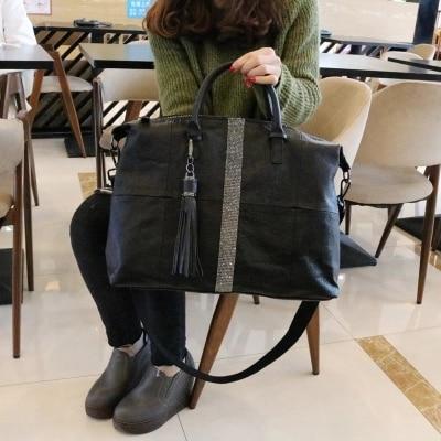 Nouveauté femmes grand casual noir fourre-tout sac à main femme souple en cuir pu grande capacité un sac à bandoulière diamant gland messenger sac - 3