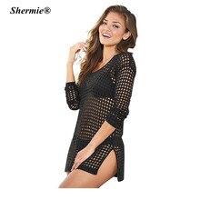 Shut ASS Mesh Beach Cover Up Swimwear Crochet Saida De Praia Swimsuit Summer Dress Womens Lace Bathing Suit Cover-Ups