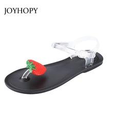 De dibujos animados flor y fruta jalea PVC Sandalias Mujer Sandalias de verano lindo de tacón plano pizca los dedos de los pies zapatos de Niña Zapatos de playa para damas AWS089