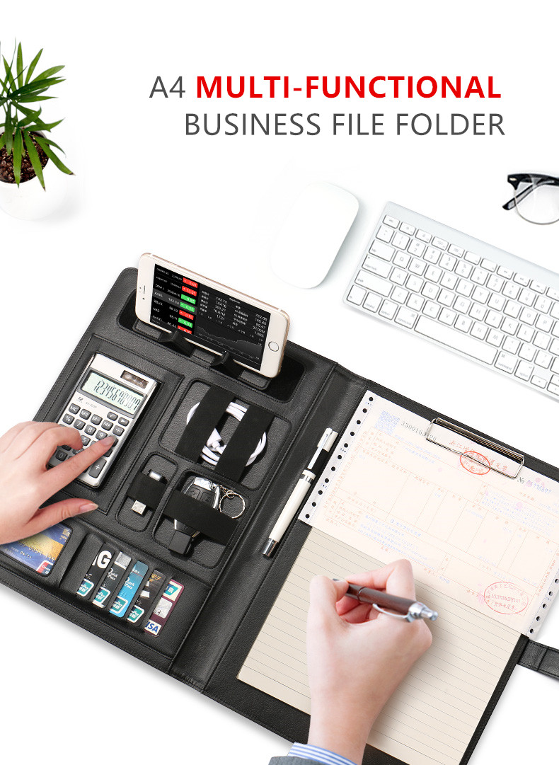 A4 Office File Folder Document Case for Business Portfolio with Calculator Note Clip Pen Mobile Phone and USB cable Holder ppyy new a4 zipped conference folder business faux leather document organiser portfolio black