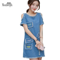 MONBEEPH 2017 Summer Denim Dress Women Casual Light Blue Pearl Burrs Dew Shoulder Jeans Dresses Patch
