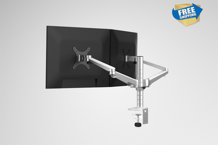 Free Shipping OA-4S Aluminum Alloy Desktop Double Arm Dual Monitor Holder Full Motion LED Screen Mount Arm Rotary Base Stand free shipping oa 4s aluminum alloy desktop double arm dual monitor holder full motion led screen mount arm rotary base stand