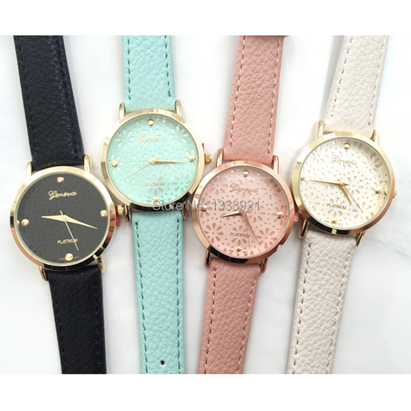 Daisy cut out face watch top quality women leather vintage bracelet watch fashion geneva watches cut out back daisy print blouse