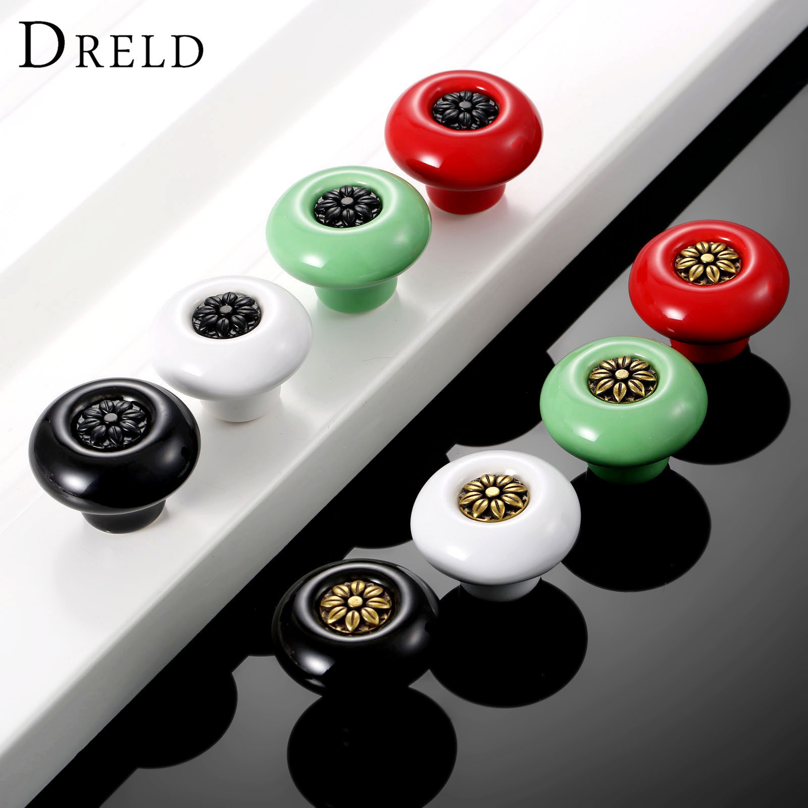 DRELD Vintage Furniture Handle Ceramic Door Knob Cupboard Drawer Cabinet Knobs and Handle kitchen Pull Handle Furniture Hardware retro vintage kitchen drawer cabinet door flower handle furniture knobs hardware cupboard antique metal shell pull handles 1pc