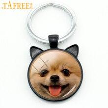 TAFREE милый улыбающийся Померанский брелок пшеничный терьер Шнауцер брелок миниатюрная собака брелок кольцо держатель подарки в виде животного CN780