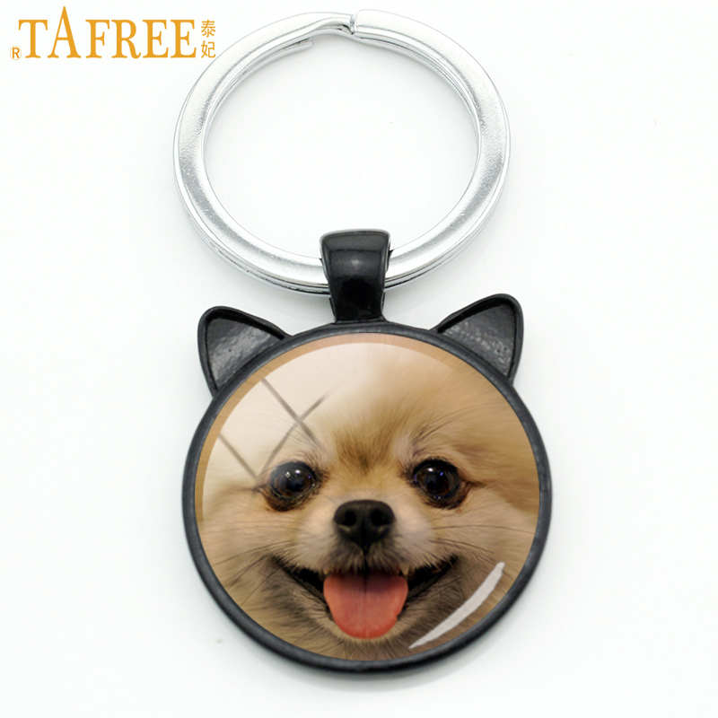 TAFREE Cute Smiling Pomeranian Keychain Wheaten Terrier Schnauzer Keyring Miniature Dog Key Chain Ring Holder Animal Gifts CN780