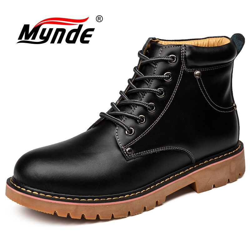 Mynde 2019 New Genuine Leather Men's Boots Spring Autumn And Winter Man Shoes Ankle Boot Men's Snow Shoes Work Motorcycle Boots