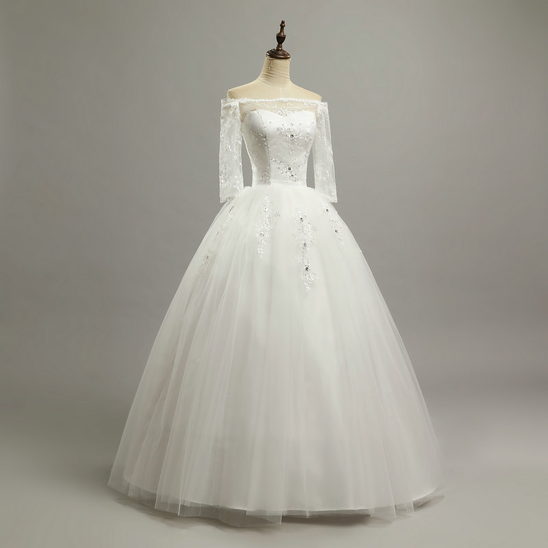 Princess Beatiful Lace Wedding Dress With Sleeve 2018 Fashionable ...