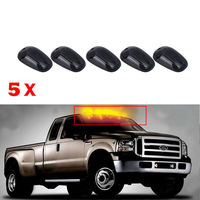 5pcs Oval Top LED Cab Roof Lights Running Marker Smoke Lens For Dodge Ford Truck