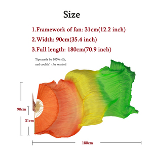 Image 5 - Belly dance fans High quality 20 colors 100% silk veils dance fans bamboo ribs long Stage Performance Property props 180cm