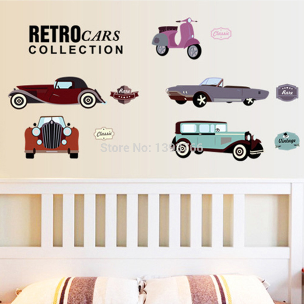 Cartoon Retro Cars Wall Stickers For Kids Rooms Child Room Decoration Nursery Decor Wallpaper Decals Sticker In From Home Garden