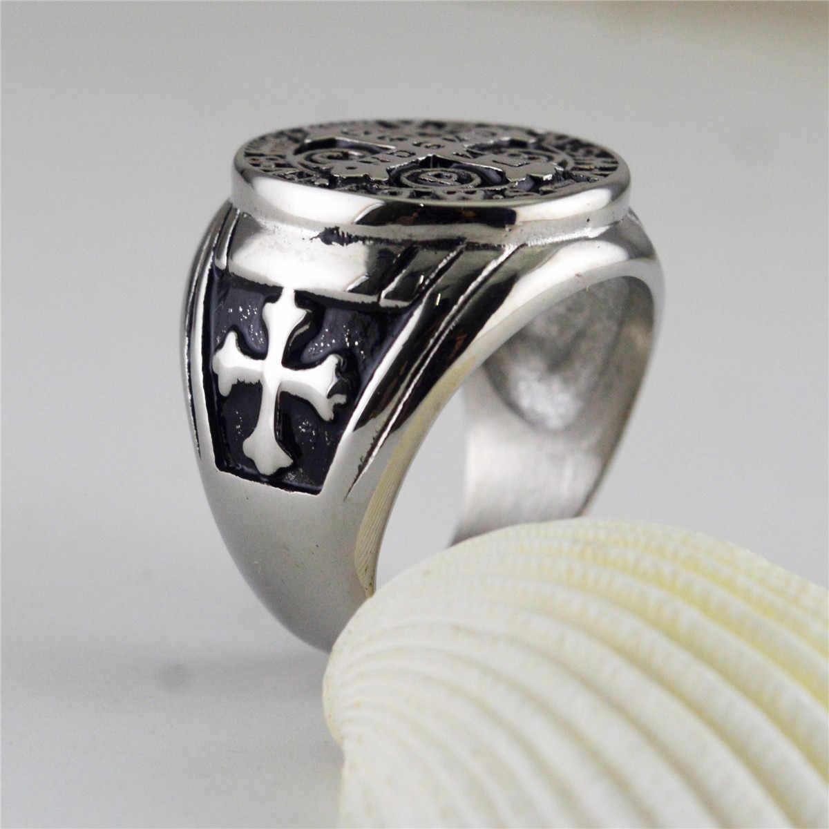 כסף זהב צבע זכר הכנסייה תכשיטי נירוסטה טון צלב כתובי טבעת לגברים בנדיקטוס הקדוש CSPB לנכש טבעת