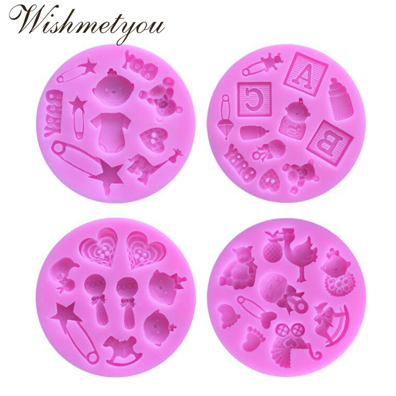 WISHMETYOU Baby Toys Shape Silicone Soap Mold Cake Cookie Decorating Tools Paste Chocolate Lollipop Jelly Making Diy