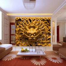 Custom 3d mural stereo wood carving TV background wall decoration painting wallpaper mural photo wallpaper