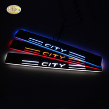 SNCN LED moving light scuff pedal for Honda City 2015 2016 car acrylic led door sill welcome