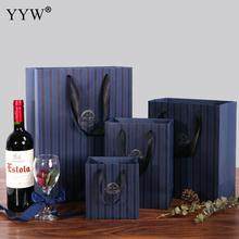YYW Luxury Design Blue Luxury Gift Wrap Paper Jewelry Bags with Nylon Cord 20pcs/lot Wholesale