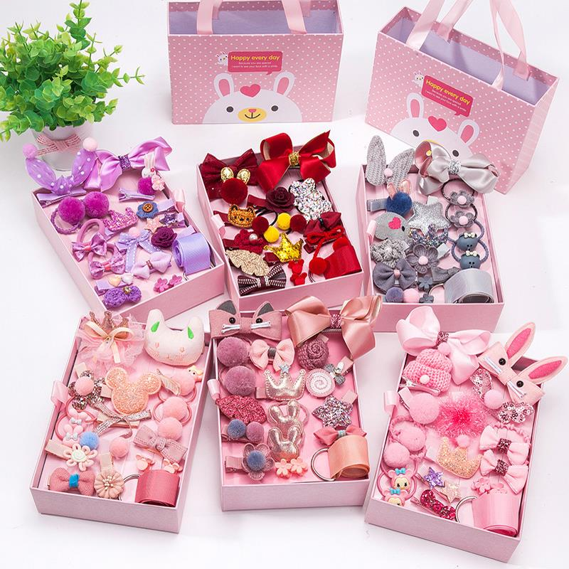 18pcs/set Cute Child Hair Accessories Little Girls Clip Rubber Bands Christmas Gift Box Packages Hairpin Kids Hair Clips Set