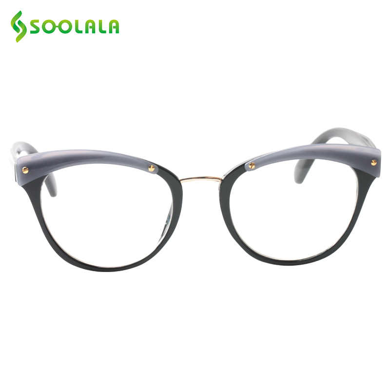 acfcab1ece SOOLALA Cat Eye Reading Glass Women Men Clean Lens Large Prescription  Eyeglass Frame Fashion Reading Glasses