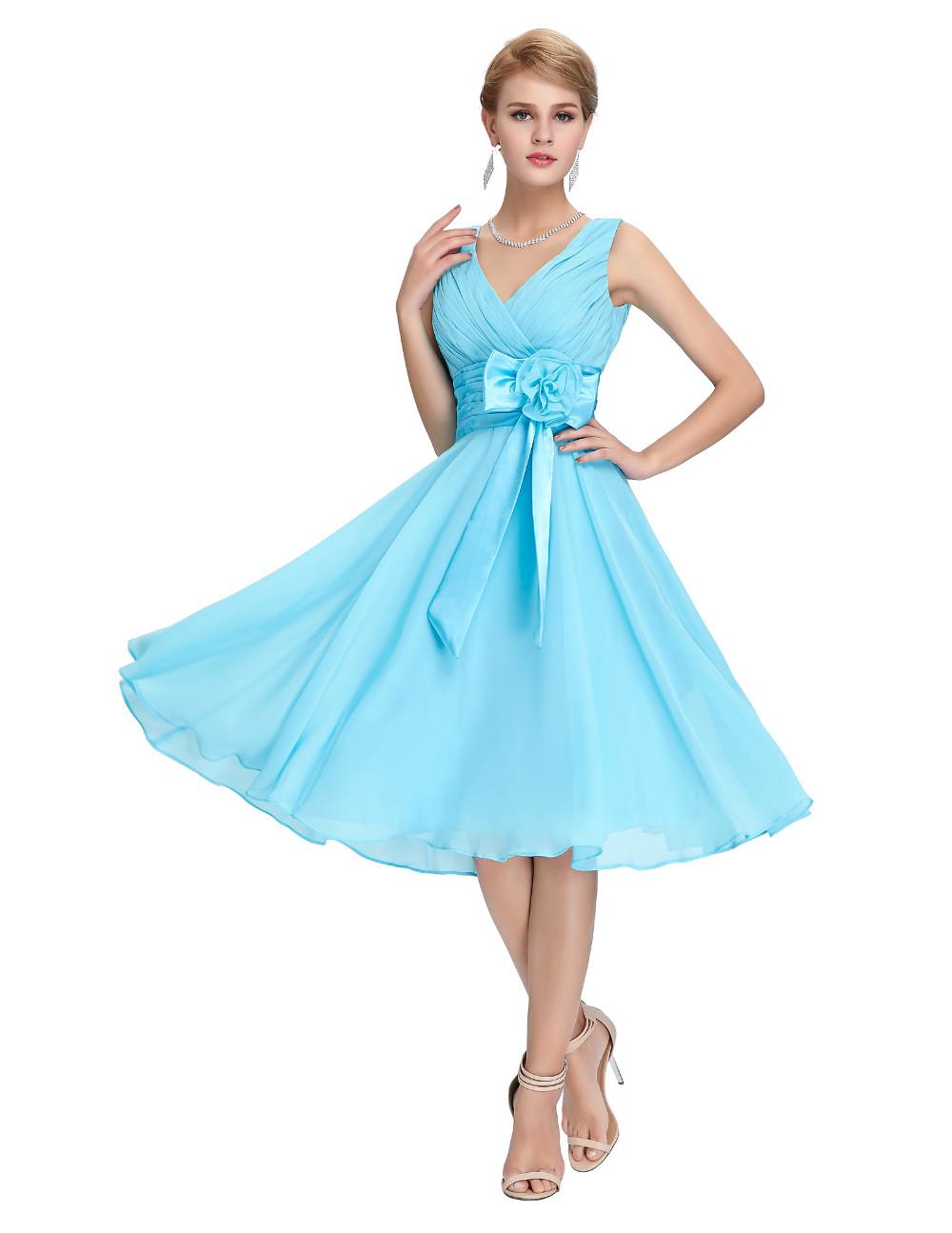 HTB1aO2MMVXXXXbfaXXXq6xXFXXXOKnee Length Short Chiffon Blue Dress