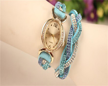 Fashion Hot NEW Relogio Rhinestone Watch Casual Summer Style Fabric Bracelet Wristwatch Watch Women Watches Free shipping