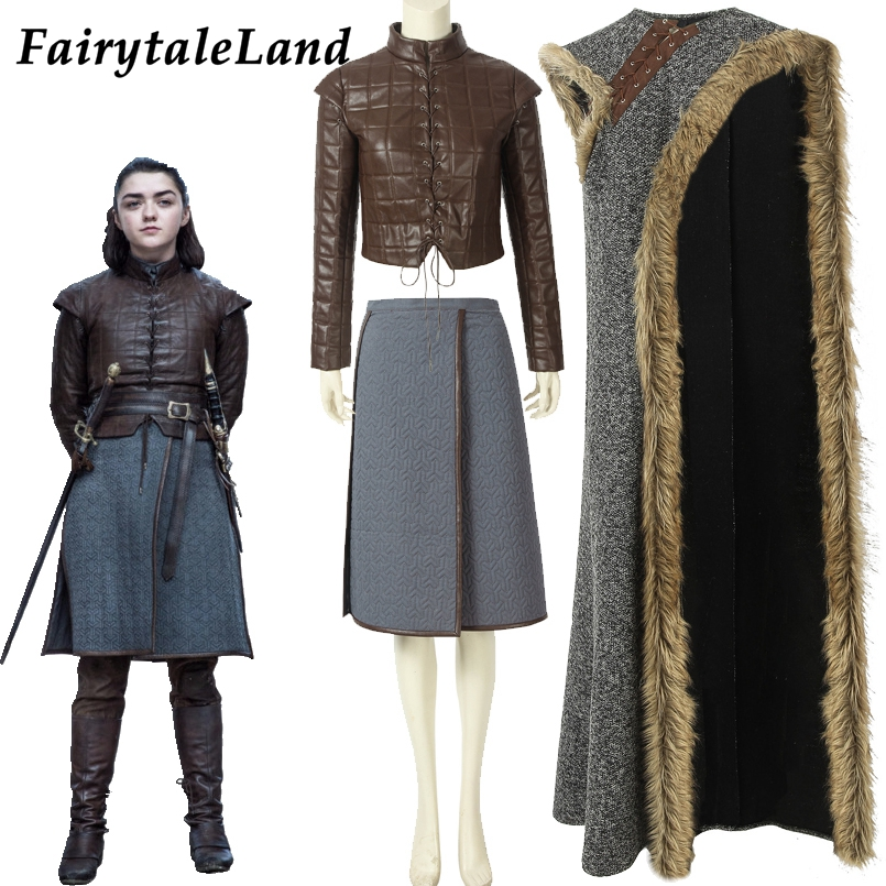 Adult Arya Costume Halloween Costumes Cosplay Outfit Game Of Thrones 8 Arya Stark Cloak Jacket Custom Made Fancy Costume
