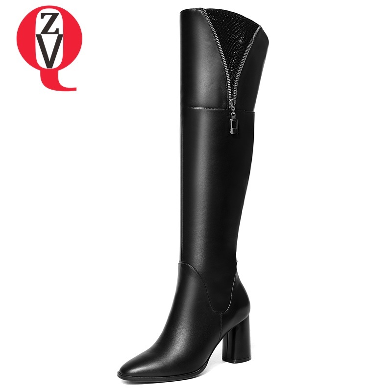 ZVQ women shoes 2018 new fashion square toe genuine leather high square heel zipper winter outdoor plush warm knee high boots zvq 2018 winter hot sale new fashion square toe zipper high square heel genuine leather women ankle boots outside warm shoes