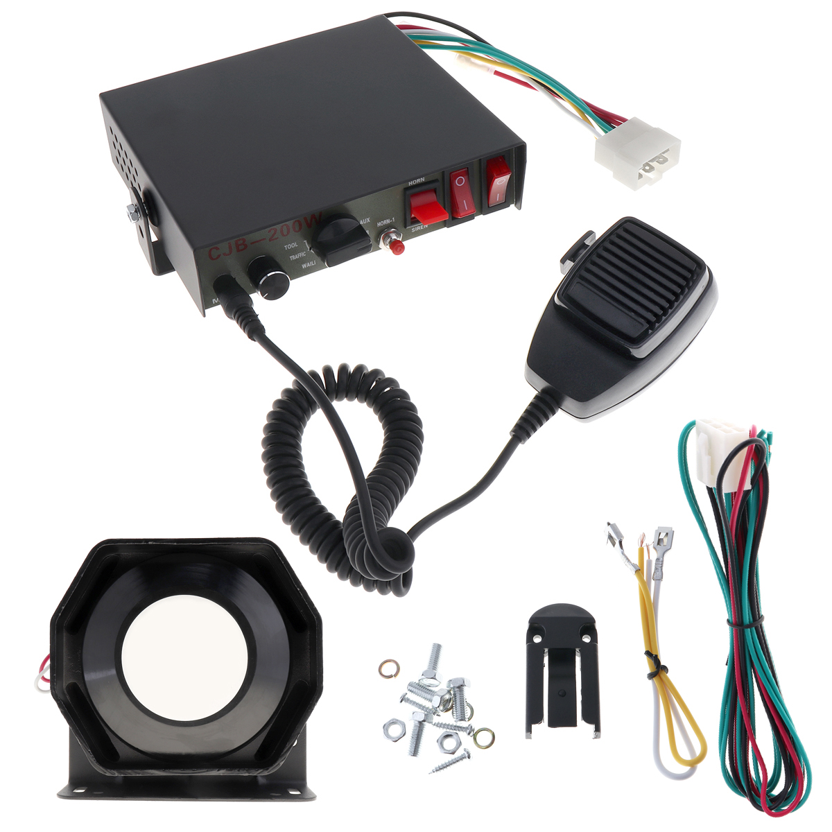 Universal 12V 200W 8 Sound Speaker Car Warning Alarm Police Fire Siren Horn PA with MIC System