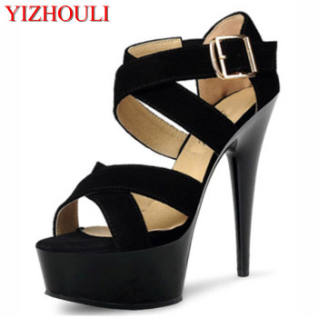 New Summer Women Sexy Roman 15 cm High Heels Platform Ankle Strap Sandals Women Fashion Black Gladiator Sandals