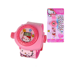 Cute Pink Hello Kitty Watch Baby 3D projection Wristwatches Girl Clock Timer children's watches bayan kol saati