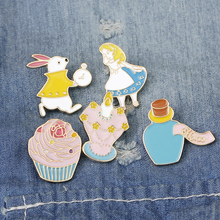 I Am Just So Cute! Alice in Wonderland Pin Brooch Button Badges Cute Tea Party,Alice,Cupcake Colorful Accessories