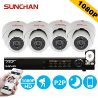 SUNCHAN 8ch 1080P AHD H DVR 4PCS 2 0MP 1080P SONY Indoor Dome Security Camera DVR