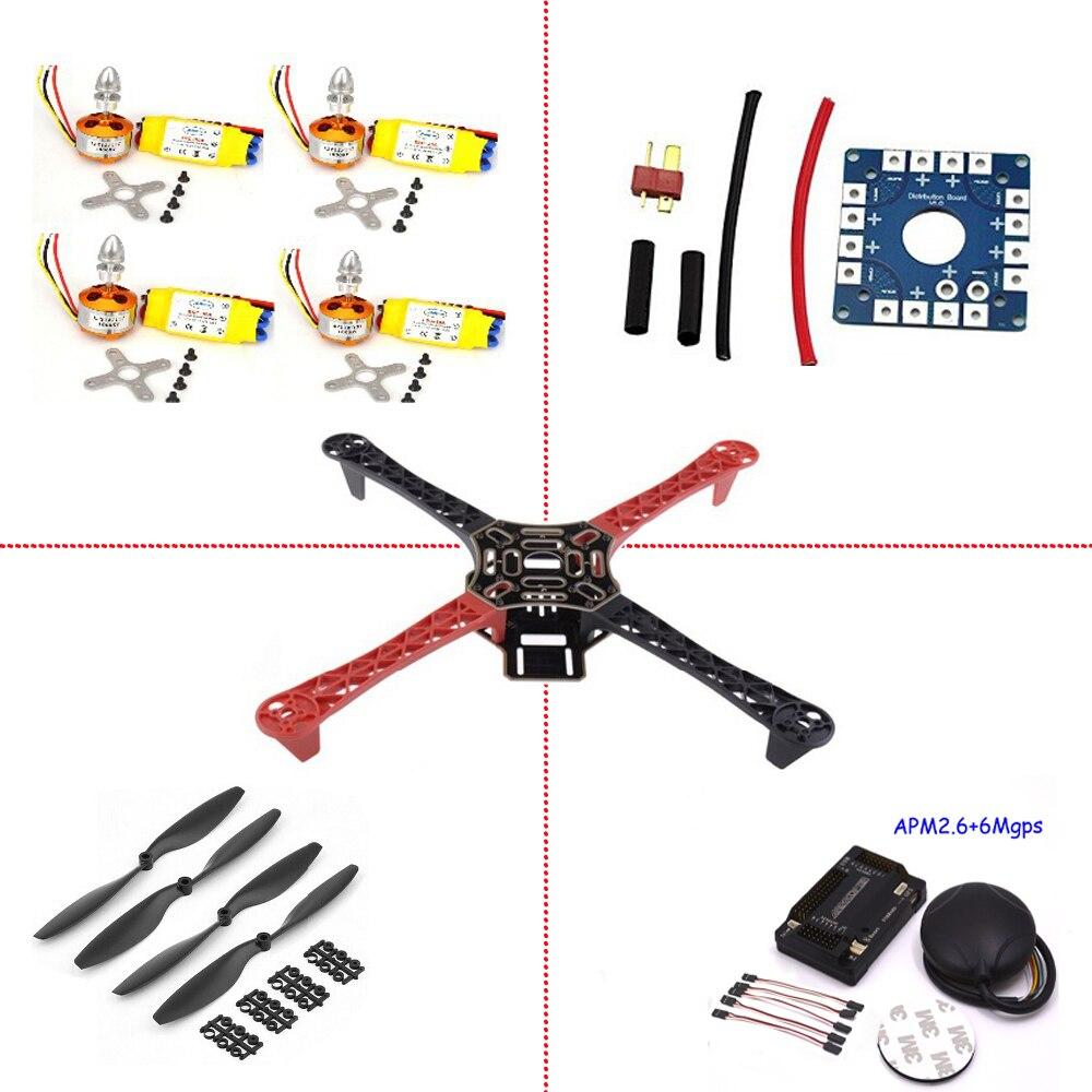 Cadre F450 quadrirotor cadre Kit APM2.6 et 6 M GPS 2212 1000KV HP 30A 1045 prop fpv drone kit F4P01 drone quadrocopter