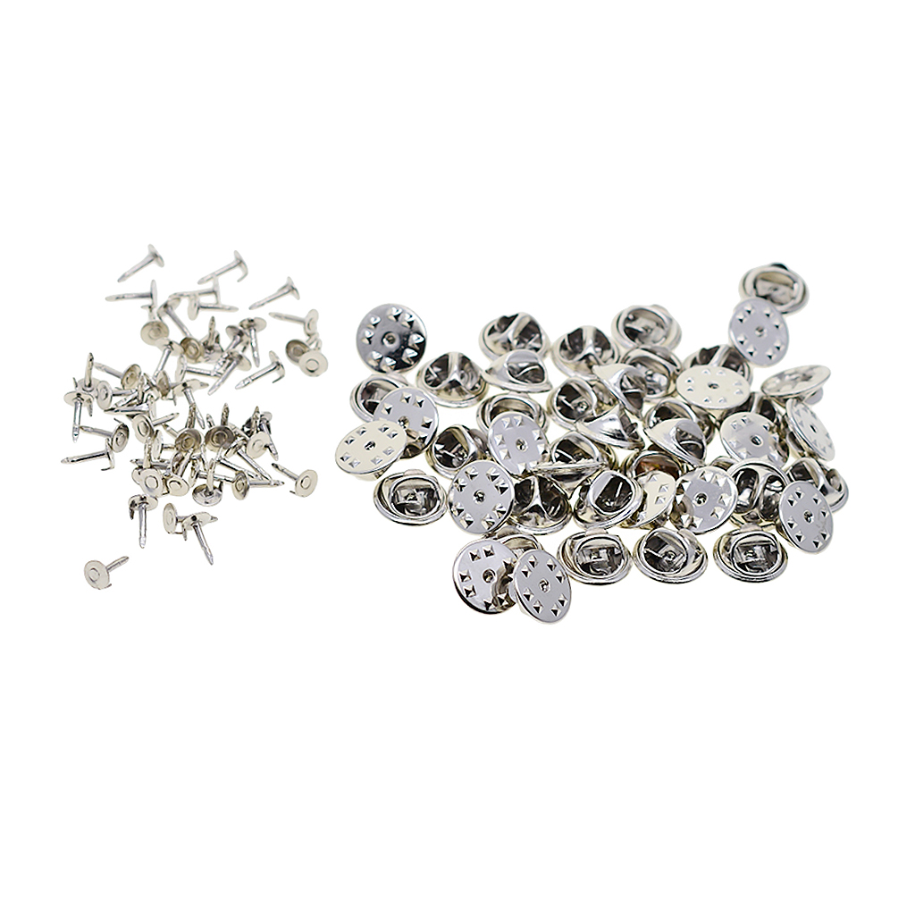 50 Sets Badge Hat Pin Backs Metal Tacks Butterfly Clutch Back Pins Lapel Scatter Pin Fasteners Silver