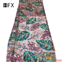 HFX Green And Gold Sequined African Lace Fabric For India Dress 2019 New Nigeria Sequins French Tulle lace F2381